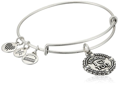 Alex and Ani Womens Because I Love You Charm Bangle Bracelet, Rafaelian Silver, Expandable