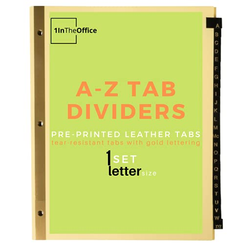 1InTheOffice Alphabetical A-Z Leather Dividers, 25-Tab, Black