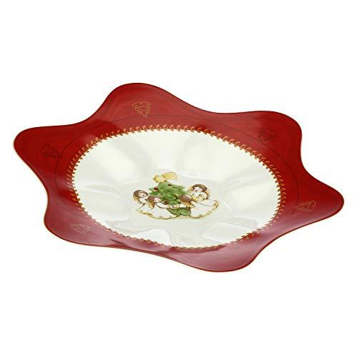 THUN - Plato navideño multiusos con ángeles - Accesorios de cocina - Línea Dolce Navidad - Porcelana - Ø 35 cm