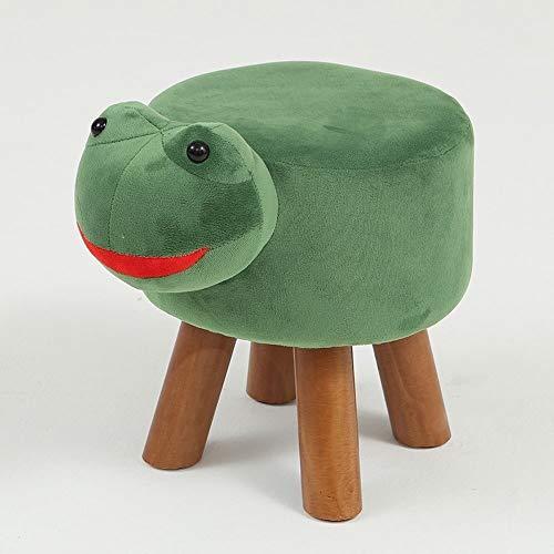 BYTGK Moderner Tierhocker aus Massivholz, Fußhocker für Wohnzimmer, Sofa, Stoff, Ottomanen, Stühle, F0306 Frosch