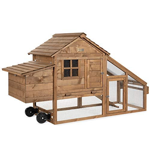 Best Choice Products 70in Mobile Fir Wood Chicken Coop Hen House Poultry Cage for 3-5 Hens, Outdoor, Animal Care w/Wheels, 2 Doors, Nest Box, Removable Tray, UV Panel