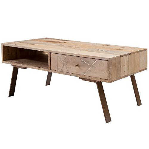 FineBuy Couchtisch SAKIR 95x42x50 cm Mango Massivholz/Metall Sofatisch | Design Wohnzimmertisch mit Schublade | Stubentisch Landhaus braun | Designer Holztisch Kaffeetisch massiv | Tisch Wohnzimmer