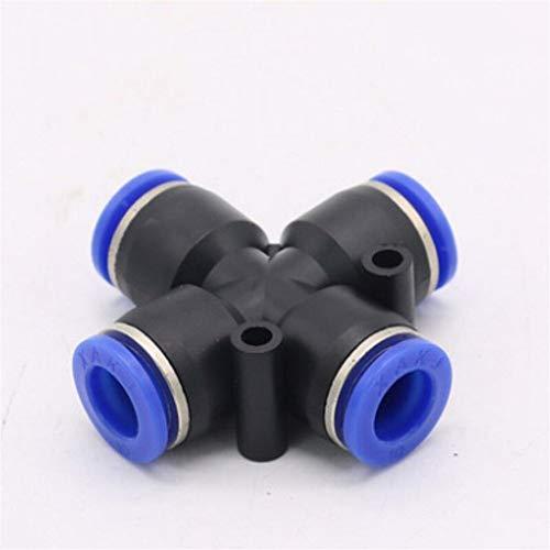 Fuerte y robusto Forma 10pcs 4 Way transversal igual neumática de 6 mm 8 mm 10 mm 4 mm 12 mm OD Tubo Manguera de empujar hacia adentro el montaje de 4 puertos Splitter Aire Gas conector rápido Manguer