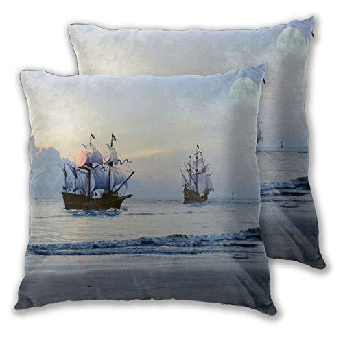 ALLMILL Federe Cuscino 65x65cm,2 Pezzi,Nave Pirata Mare Luna Fantasia Oceano Barca a Vela,Decorativo per Auto Sofà Divano Ufficio Salotto Home Decor