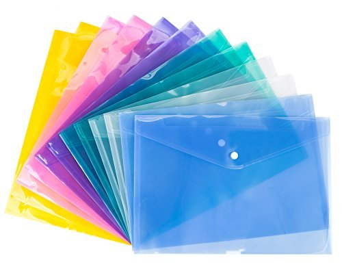 Bekith 24 Pack Clear document folder with snap button, Premium Poly Envelope, US LETTER / A4 size, 6 assorted Colors, Blue, Green, Orange, White, Purple, Pink