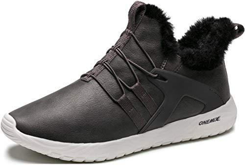 ONEMIX Herren Winter Schuhe Warm Schneestiefel gefüttert Kurzschaft Sneaker Winter Stiefeletten Schneestiefel für Outdoor 1328C Grau 39