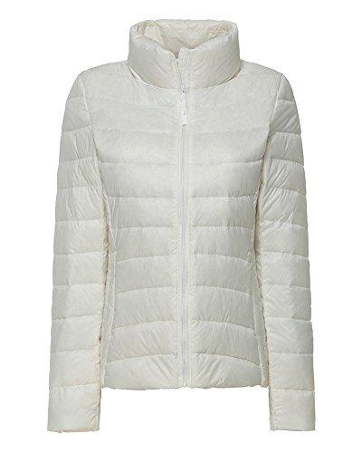 ZhuiKun Damen Daunenjacke Steppjacke Packbar Ultra Leicht Gewicht Daunenmantel Winter Jacke Weiß XL