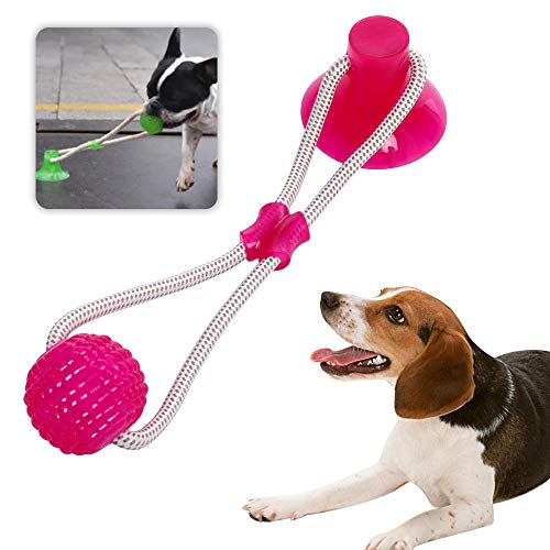 Ciujoy Hundespielzeug mit Saugnapf, Kauseilballspielzeug für Hunde Multifunktions Pet Molar Biss Spielzeug aus Naturkautschuk Zahnreinigung mit Zahnpflege-Funktion für Kleine mittlere Hunde (Rot)