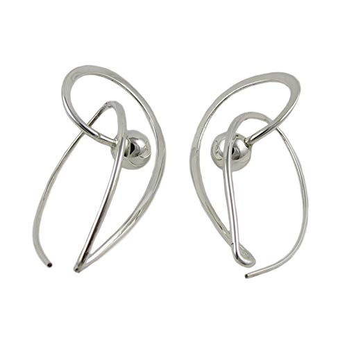 Long Modernist 925 Sterling Silver Ball Bead Earrings