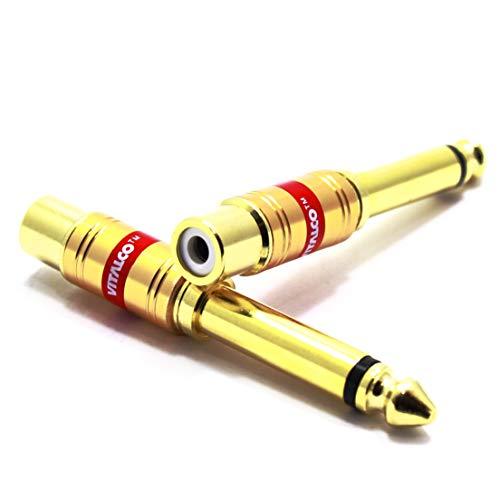 Adaptador Jack a RCA VITALCO Jack 6,3 TS Plug a RCA Hembra 2 Piezas Conector de Audio