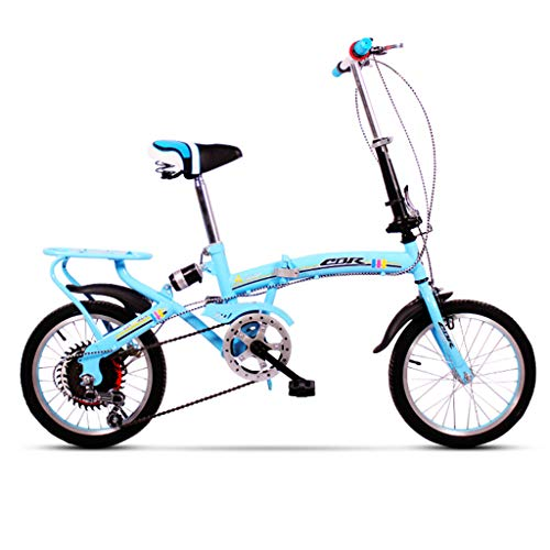 YONGLI Folding Bicycle Folding Bicycle Women's Bicycle 6-Speed 16-inch Wheel Set Shifting Compact (Color : Blue, Size : 16 INCH)