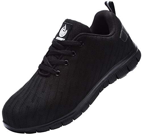 Zapatillas de Seguridad Hombre Mujer,Zapatos de Trabajo con Puntera de Acero Transpirable Reflectante (Negro,46 EU)