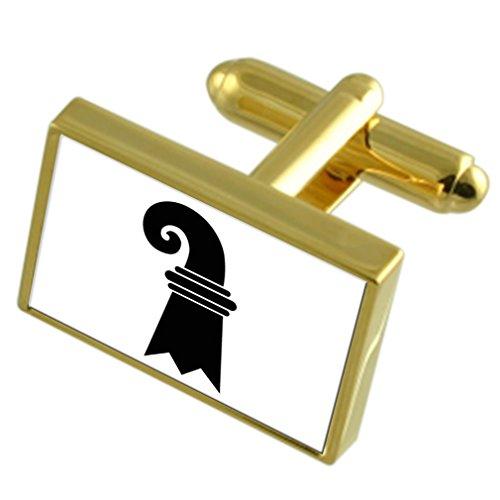 Basel Stadt Schweiz Gold Manschettenknöpfe graviert Box