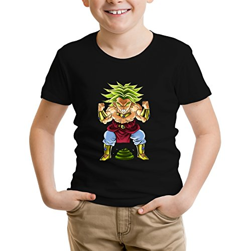 Okiwoki T-Shirt Enfant Noir Dragon Ball Z - DBZ parodique Broly Le Guerrier millénaire : Super Caca Vol.3 - Le Caca Millénaire (Parodie Dragon Ball Z - DBZ)