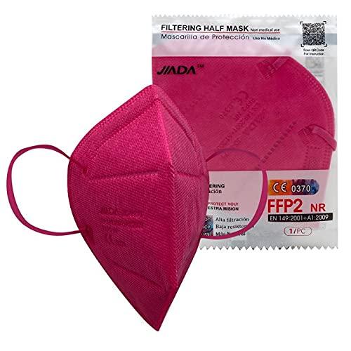 ASTORMEDIC Mascarillas FFP2 Jiada- Homologadas CE- para Adultos [20 unidades] Mascarilla de Protección con 5 capas. Alta eficiencia filtración bacteriana. Colores. Envase Individual (Fucsia)