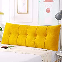 Large Rectangular Headboard Pillow, Bed Rest Positioning Long Support Pillow for Reading, Zippered Bolster Lumbar Back Pillow for Day Bed, Soft Velvety Cover & Fluffy Body Pillow Filler, Yellow
