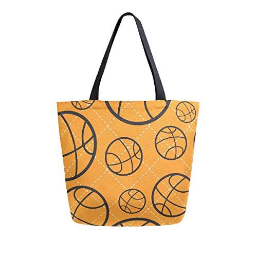 Bolso de baloncesto de lona con asa superior, bolsos grandes, reutilizables, bolsas de hombro de algodón para mujeres, viajes, trabajo, compras, comestibles