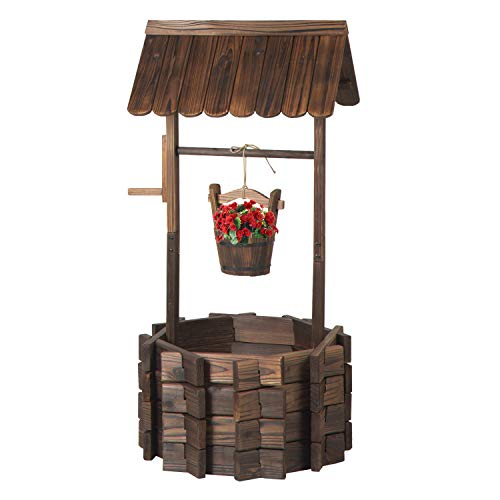 Aoxun Wooden Wishing Well Planter with Hanging Bucket for Flower and Plants, Planter Indoor and Outdoor, Home Decor for Patio Garden , Brown