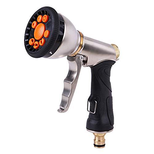 Aprettysunny pistola de pulverización para manguera de jardín, 9 patrones ajustables, manguera de agua de alta presión con boquilla para riego de plantas de jardín, limpieza de coches y mascotas
