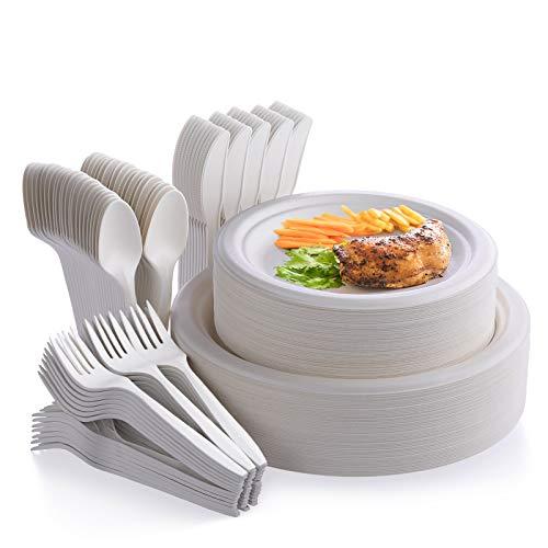 Fuyit 250Pcs Disposable Dinnerwa...