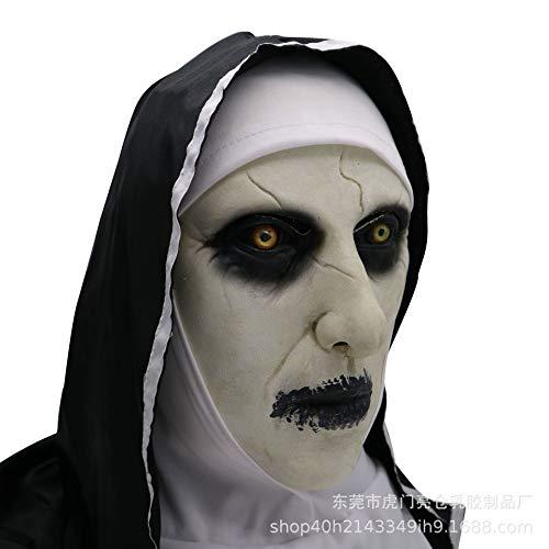 Máscara de Monja Máscara de Maquillaje de Terror de Halloween Mueca complicada Máscara de látex aterradora