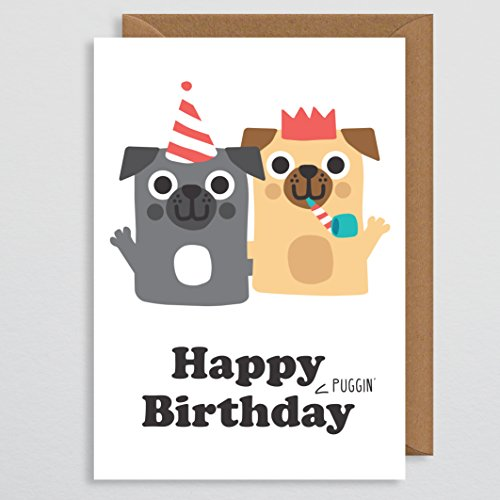 Gelukkige Puggin Verjaardag - Verjaardagskaart - Pug Verjaardagskaart - Grappige Verjaardagskaart - voor haar - Rude Pug Verjaardagskaart - voor vrouw - Moeder - Vriendin - Van De Hond - Pug Party - Pug Gift - Hond Kaart