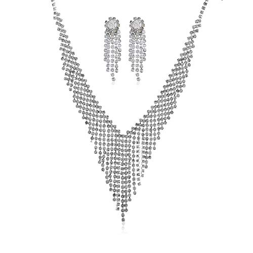 Ryyland-Home Kettenanhänger Set Frauen-Brautkristallrhinestone-Troddel Opulente Halskette Ohrringe Set Damen-Schmuck-Set Schmuck-Set (Color : Silver, Size : Free Size)