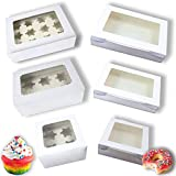 """[24 Pack] Cake/Cupcake Boxes AND Pie Boxes/Donut Boxes in 6 different sizes and 2 different heights (4""""&2.5"""") as One Bundle. Beautiful White Paperboard Pastry, Bakery Boxes with Clear Window for Visibility. 16""""x11.8"""" Donut Box, 12""""x8"""" Pie Boxes, 8""""x8"""" Cookie Boxes, 13.4""""x10"""" Large Cake Boxes, 10.3""""x6.9"""" Cupcake Boxes, 7""""x7"""" Treat Boxes or Mix them up as you Wish. [24 BOXES]"""
