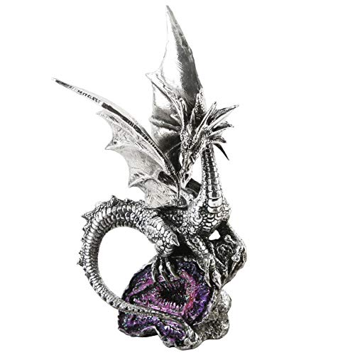 Silver Dragon Figurine with Purple Crystal