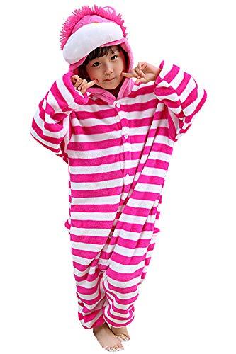 """YAOMEI Niños Onesies Kigurumi Pijamas, Niña Traje Disfraz Capucha, Ropa de Dormir Halloween Cosplay Navidad Animales de Vestuario (130 para Niño Altura 120-130CM (47\""""-51\""""), Gato de Cheshire)"""