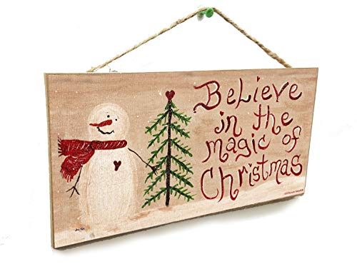 Blackwater Trading Believe in The Magic of Christmas Snowman Winter 5' x 10' Sign