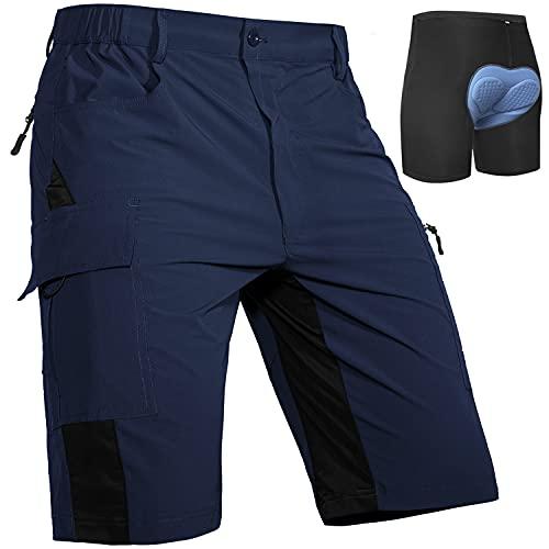 Cycorld MTB Hose Herren Radhose, Schnelltrocknend MTB Shorts mit Sitzpolster, Elastische Farradhose Outdoor Sport Mountainbike Hose Herren (Navy mit Unterwäsche, 3XL)