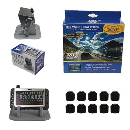 Truck System Technologies - TST 507 RV TPMS with Color Display - Tire Pressure Monitoring System for RVs, Campers & Trailers - Cap Sensor Kit - Includes TST Monitor Sunshade - 10 Cap Sensor TPMS Kit