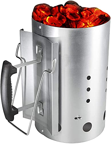 GFTIME Arrancador de Chimenea Carbón briquetas de combustión con Mango de Seguridad para Weber 7416, Encendedor de carbón de 30 x19 cm de Inicio rápido para Acampar y Asar a la Parrilla, 20 Minutos