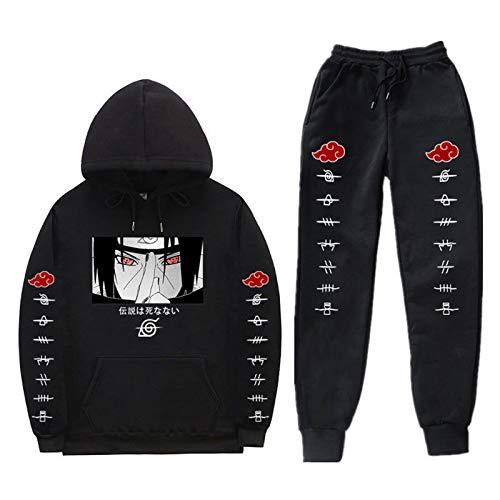 Kewing Anime Naruto Hoodie und Jogginghose Set Unisex 2 Stück Pullover Sweatshirt Joggerhose Anzug Casual Trainingsanzug für Männer Frauen