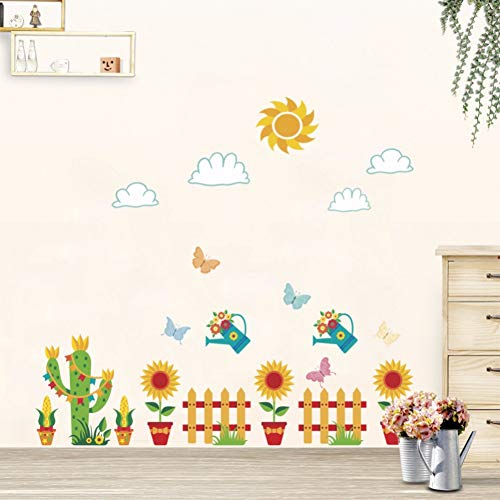 Taoyue Zonnebloem bloempot afneembare muursticker voor kinderkamer kinderkamer wanddecoratie vinyl kunst stickers cactus hek muurschildering behang