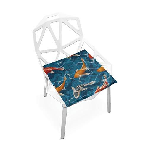 Enhusk Glücklicher glücklicher Koi Fisch Gewohnheits weicher Rutschfester quadratischer Gedächtnisschaum Stuhl Auflagen Kissen Sitz für Hauptküche Esszimmer Büro Rollstuhl Schreibtisch 16 x 16 Zoll