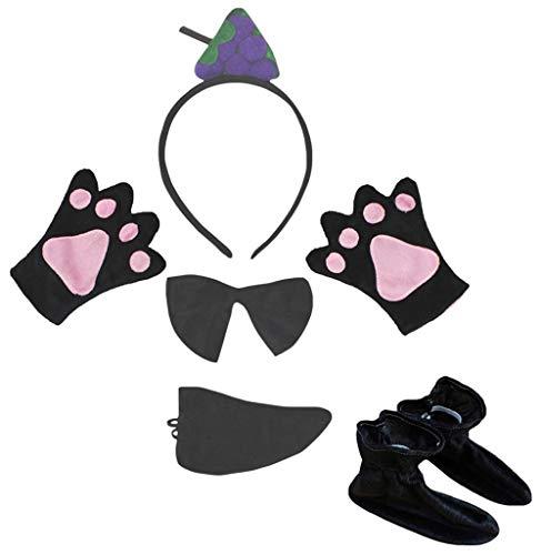 Petitebelle Zapatos de guantes, con diadema de fruta, 5 piezas, disfraz para nios de 1 a 5 aos (uva, talla nica)