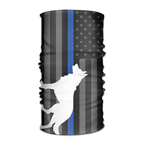 dingjiakemao Police Dog Thin Line Flag Multifunctional Magic Headwear 12-in-1 Men&Women Tube Scarf Facemask Headbands Neck Gaiter Bandana Balaclava Helmet Outdoor Running Yoga Work Out