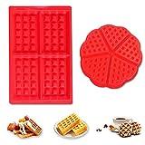 Molde Gofres Silicona,2 piezas Waffle Mold,Galletas para Tarta Muffin Cocina Herramientas, para...