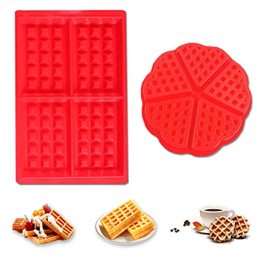 Molde Gofres Silicona,2 piezas Waffle Mold,Galletas para Tarta Muffin Cocina Herramientas, para Lavavajillas, Horno, Microondas