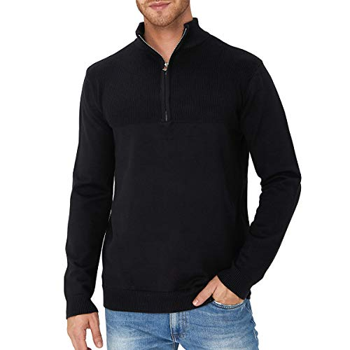 Rave on Friday Mens Sweater Slim Half Zip Polo Sweaters Casual Long Sleeve and Pullover with Ribbing Edge Top M-XXL