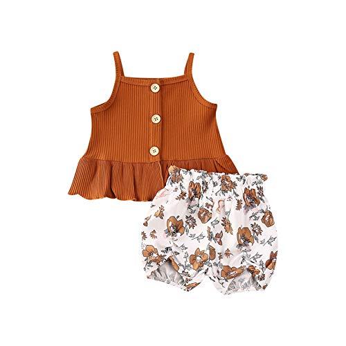 Carolilly Conjunto de ropa para bebé, verano, para niña, conjunto de ropa para bebé Braun B 12-18 Meses
