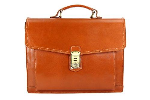 BELLI Design Bag D ital. Leder Businesstasche Arbeitstasche Messenger Aktentasche Lehrertasche Laptoptasche Unisex - 40x30x12 cm (B x H x T) (Cognac)