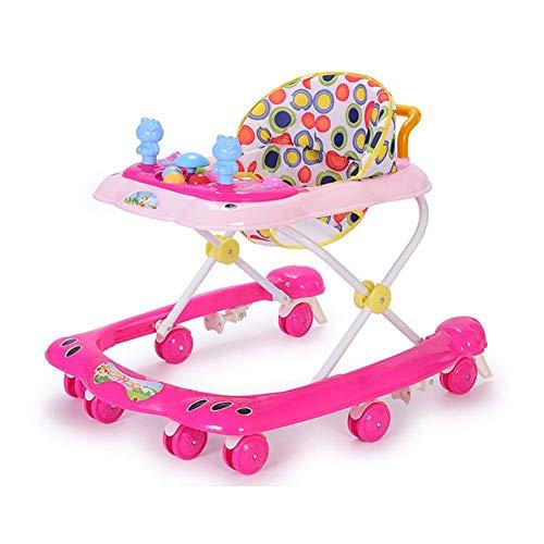 Baby Walker Wheels Balance Tronco para niños Multifuncional con automóviles Anti-Rollover Plegable Coche Bebé-Caminante Actividad-Bandeja Niño TINGG