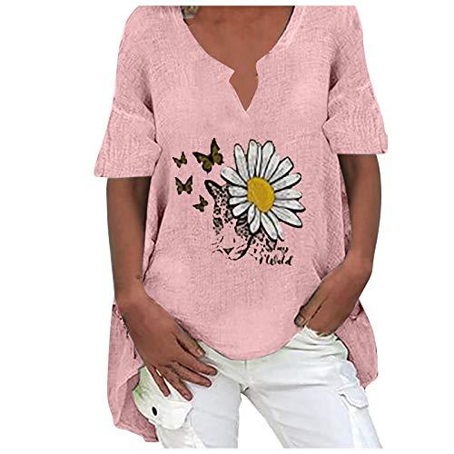 LoveLeiter Damen T-Shirt Schmetterling und Blumen Drucken tunika Retro mode kurzarm Oberteile aus Baumwolle und Leinen Sommer Bluse Lockere Mantel V-Ausschnitt Lässig Bluse Classic Hemdbluse
