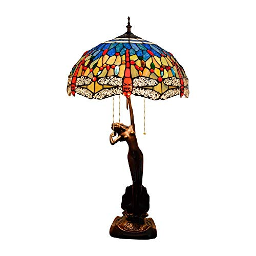 BINGFANG-W dormitorio Tiffany Lámpara de mesa de la libélula multicolor de cristal lámpara de mesa Sala Comedor Dormitorio lámpara de mesa hecha a mano Diámetro 40 cm Altura 76 cm X 3 E27 zócalo inter