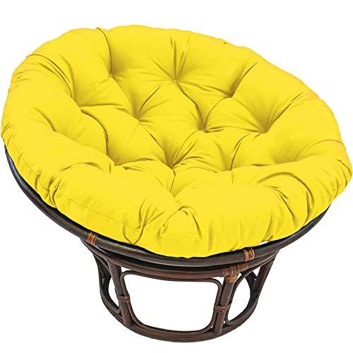 NCBH Papasan Cojín redondo impermeable para silla de columpio Papasan al aire libre, para muebles de interior y exterior, 100 x 100 cm, amarillo