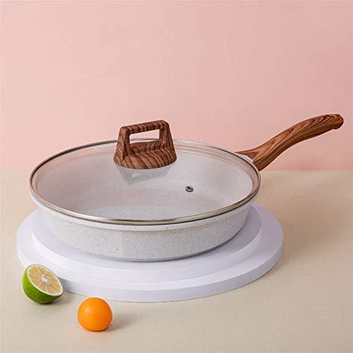 Wok woks sarten Frey Pans 20-28cm Maifan Piedra Wok Freír sin palanca con tapa de vidrio Alta calidad Profundización Sartén para la cocina de la cocina de la Inducción Estufa de gas