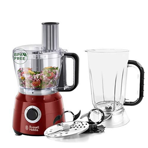 Russell Hobbs Robot Cuisine Multifonction, Hâche, Mixe, Tranche, Râpe, Lames Pétrin, Batteur, Compatible Lave-Vaisselle, 7 Accessoires - Rouge 24730-56 Desire